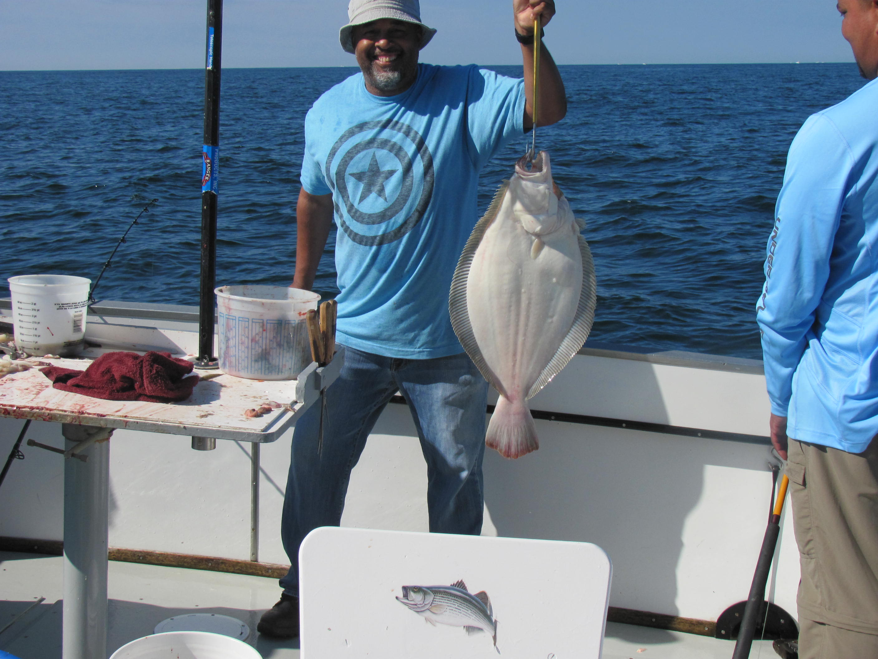 Large fluke recently caught aboard the Misty 2